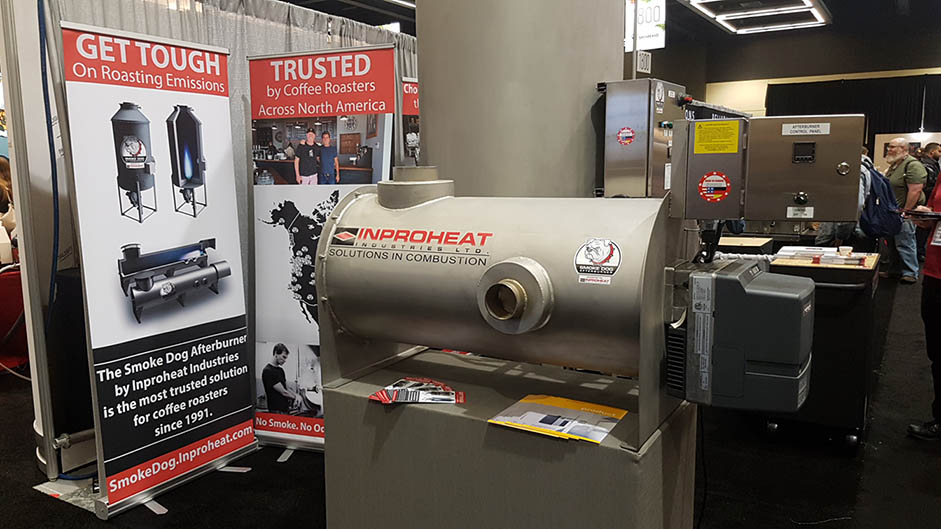 The Inproheat Industries display for the Smoke Dog Afterburner at the 2017 Global Specialty Coffee Expo.