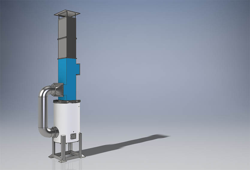 A rendering of a recuperative afterburner for coffee roasters with GreenCycle technology by Inproheat Industries.